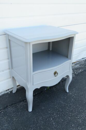 French Painted Gray Nightstand End Side Table by Century 1935