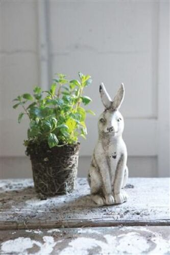 Crackled White BUNNY RABBIT SCULPTURE*Primitive/French Country Farmhouse Decor