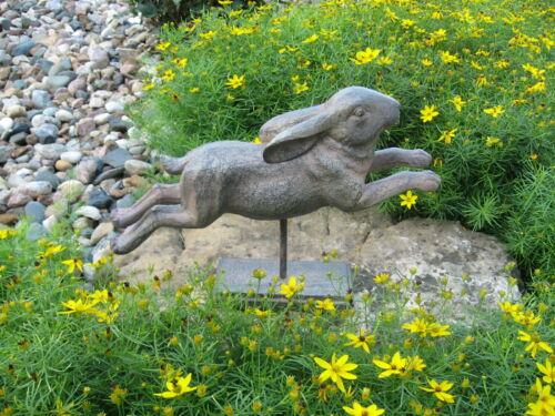 Leaping BUNNY Rabbit Sculpture*Primitive Home French Country Farmhouse Decor*NEW