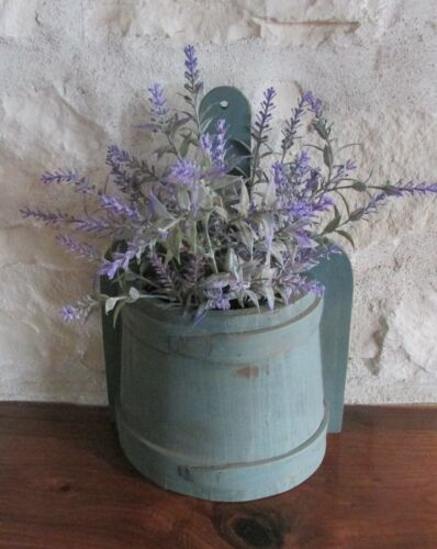Blue Firkin Style Wood Wall Basket*Primitive/French Country Farmhouse Decor*NEW!