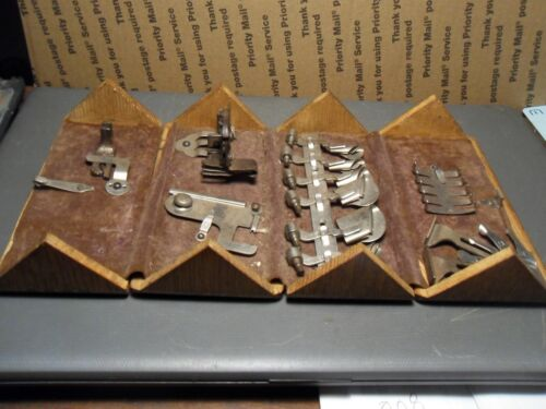 1889 SINGER WOOD SEWING BOX PUZZLE  WITH ACCESSORIES