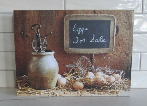 Canvas Egg*Basket*Crock PICTURE Primitive/French Country/Farmhouse Kitchen Decor