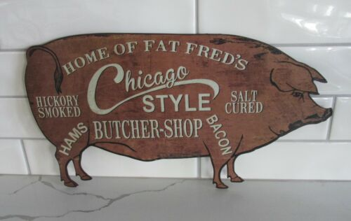 Fred PIG Butcher Shop Wall SIGN*Primitive/French Country Kitchen/Farmhouse Decor