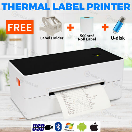 NEW 203DPI Thermal Label Printer with FREE 500pcs Labels & Holder USB+bluetooth