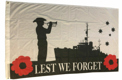 LEST WE FORGET FLAG AUSTRALIAN NAVY REMEBRANCE FLAG ANZAC DAY