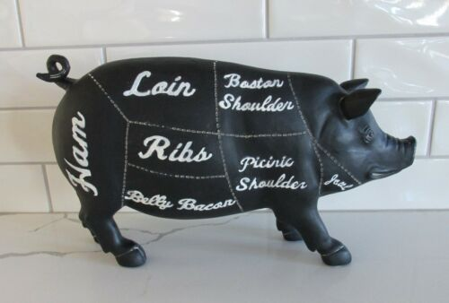 Butcher Chart PIG Hog SCULPTURE*Farmhouse Primitive/French Country Kitchen Decor