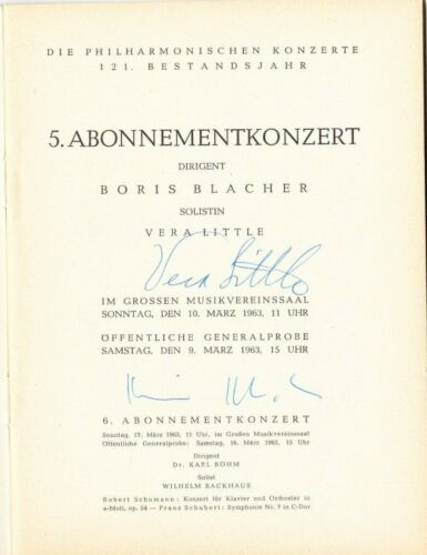 Conductor BORIS BLACHER, signed Program, Vienna Philharmonic Orchestra 1963