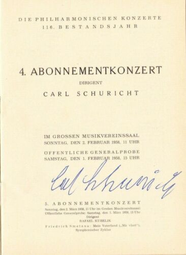 Conductor CARL SCHURICHT, signed Program, Vienna Philharmonic Orchestra 1958