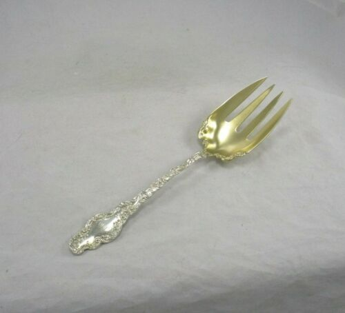 "Durgin Shreve Co. Sterling Silver Gilt 9 1/4"" Meat Serving Fork Watteau Pattern"
