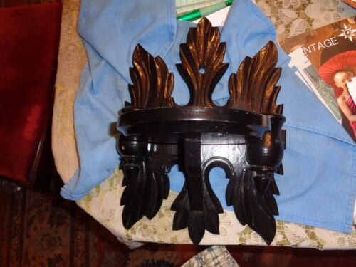 Victorian black styled and colored wall shelf with candleholders