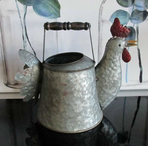 Galvanized #ROOSTER #TEAPOT #Planter #Primitive #French Country #Farmhouse Decor