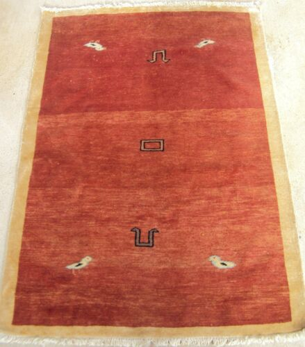 VINTAGE 5x3 PERSIAN SILK BIRD OF PARADISE HAND-KNOTTED CARPET RUG Oriental