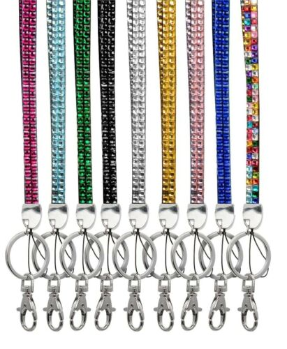 Lanyard ID Holder Lobster Claw Clip Gold Yellow Gold Gems Crystal Stones