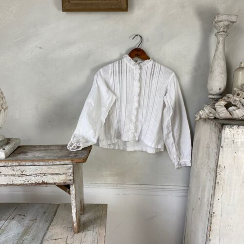 Antique French White Blouse Turn of the Century Vintage French Women's clothing