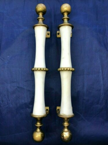 """Vintage 2 White Marble & Brass 16.25"""" Long Heavy Door Pull Handles Made in Italy"""