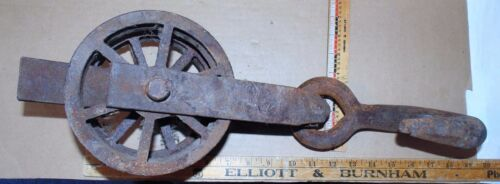 Vintage Metal Double Pulley ( hand Forged ?) W/ Hook - Aged Patina