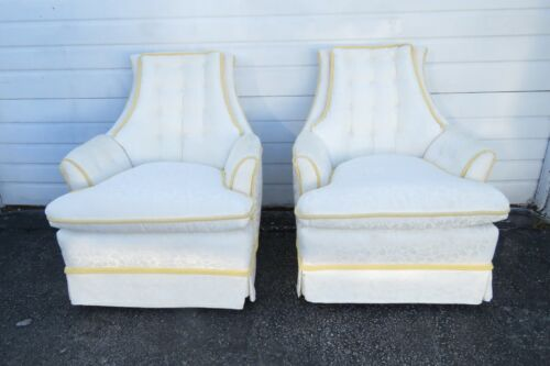 Hollywood Regency Mid Century Pair of Swivel Side Chairs 1957