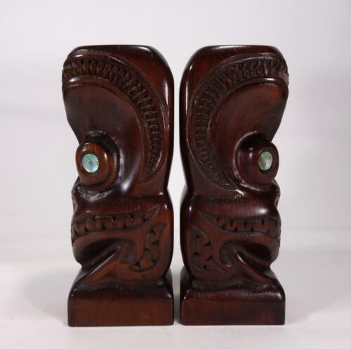 VINTAGE RETRO WOODEN MAORI TIKI HAND CARVED FIGURES BOOKENDS NEW ZEALAND