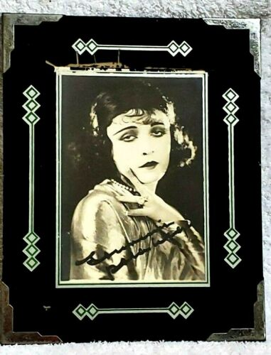Reverse Painted ART DECO Glass Picture Frame Flapper gal Black Green silver 30s