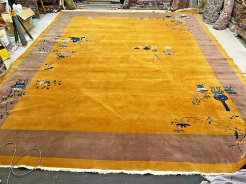 Auth: 30's Antique Art Deco Chinese Rug    Rare  Gold & Purple 12x15 Beauty   NR