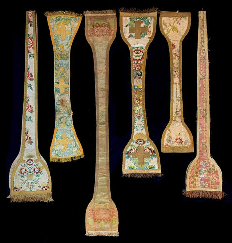 SIX  ANTIQUE FRENCH PRIEST STOLES WITH GOLD METALLIC