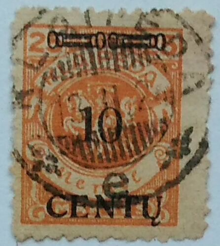 MEMEL (Lithuanian Occ) 1923 (May) 10 CENT on 25 Mk.