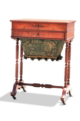 Early 19th Century English Mahogany 2 drawer Sewing Table w/ Bag Drawer 1830's