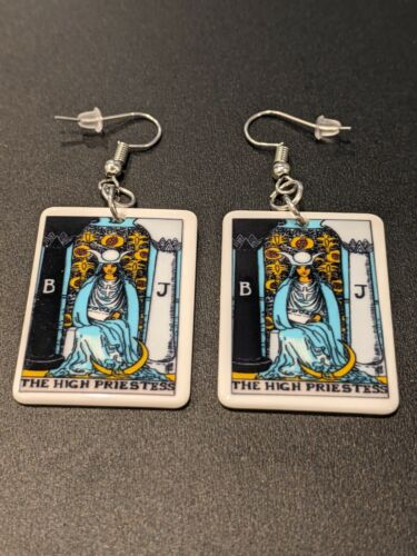 Tarot Card The High Priestess Gothic Witch Alternative Earrings