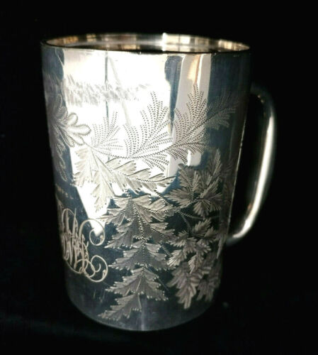 ANTIQUE SILVER PLATED ENGRAVED CHRISTENING MUG/SMALL TANKARD 1903