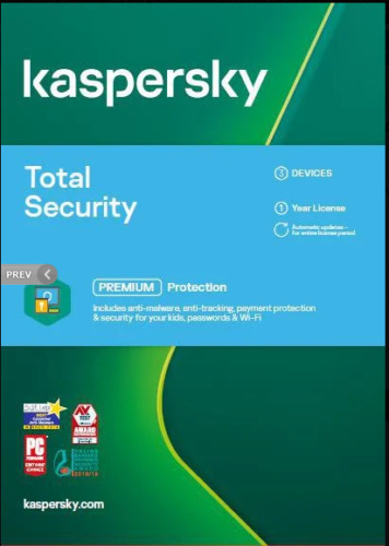 Kaspersky Total Security (Key Only) 3 Devices, 1 Year Android, MacOS, Windows