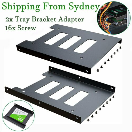 """2pc Black 2.5"""" SSD to 3.5"""" Bay Hard Drive HDD Mounting Dock Tray Bracket Adapter"""