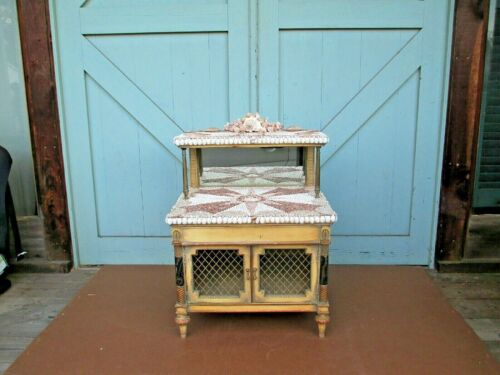 shell decorated sea chest cabinet nautical sailor star ship // call for DELIVERY