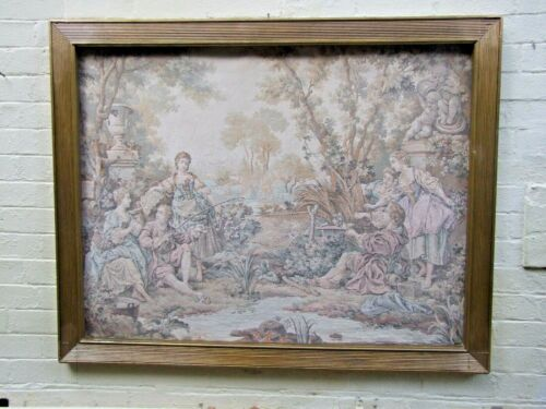 """Large 19th Century Flemish Wall Tapestry """"Country Scene"""" Gold  Frame140 X 110 cm"""