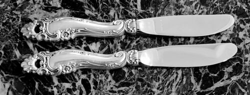 2 Gorham Sterling Decor Butter Knives / Spreaders Excellent, Stainless Blades