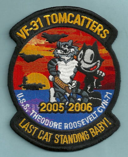 VF-31 TOMCATTERS NAVY FIGHTER SQUADRON PATCH USS ROOSEVELT WESTPAC 05-06Original Period Items - 10953