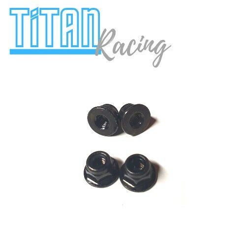 RC Wheel Nuts Flanged Nyloc 4mm Black Steel 1/10 Crawler Traxxas Losi HPI Axial