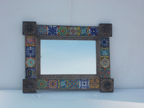 """PUNCHED TIN MIRROR with mixed talavera tile mexican folk art 17"""" X 13"""""""