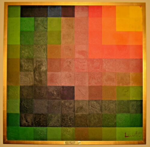 SOL LEWITT Original Vintage Signed Abstract Color Grid Square Cubes Oil Painting
