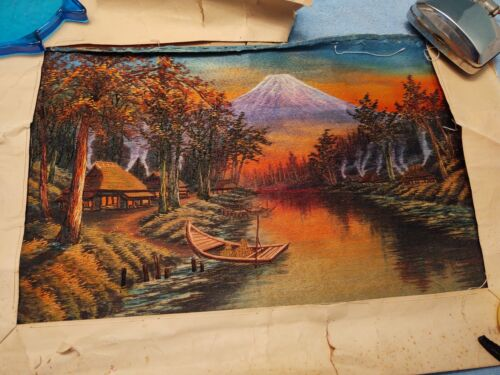 """vintage 17"""" x 11"""" Mountain Lake Boat Tapestry Wrapped in Original Paper Sunset ?"""