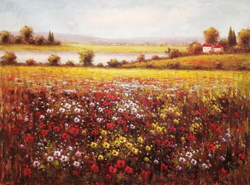 Flower Field - Item #FF1F13,  36x48, 100% Hand painted Oil Painting on Canvas