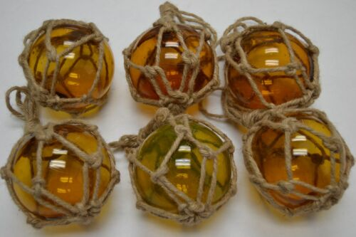"""6 PCS REPRODUCTION AMBER GLASS FLOAT BALL BUOY WITH FISHING NET 4"""" #F-510"""