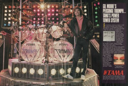 1987 2pg Print Ad of Tama Power Tower Drum Rack & Kit w Gil Moore of Triumph