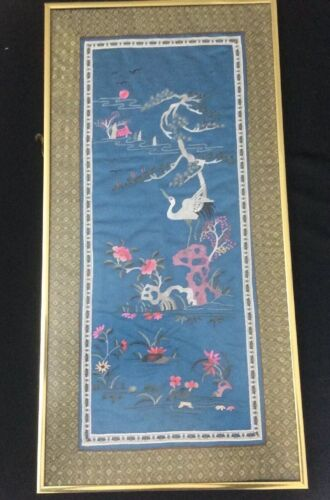 ORIENTAL CHINESE FRAMED SILK EMBROIDERY PANEL WHITE CRANE
