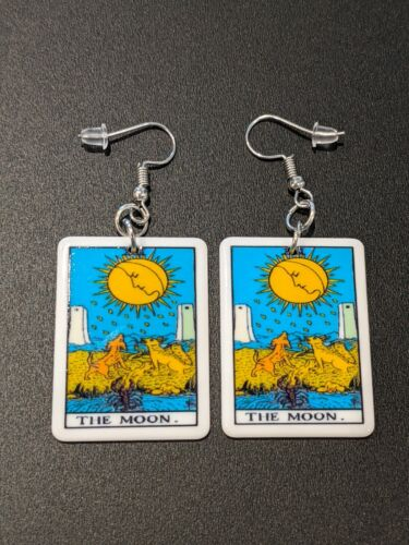 Tarot Card The Moon Gothic Witch Alternative Earrings
