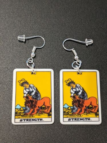 Tarot Card Strength Gothic Witch Alternative Earrings