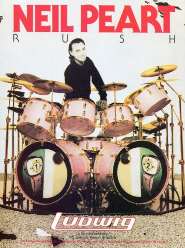 1989 Print Ad of Ludwig Super Classic Drums w Neil Peart RUSH Hold Your Fire