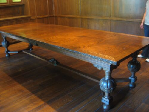 """Antique Oak Wood Dining Table Boardroom Conference 144"""" x 48"""" x 31"""" Magnificent"""