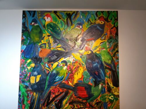 """Hunt Slonem Thick oil on canvas,""""Tourucos""""brite colors,masive size,signed,dated."""