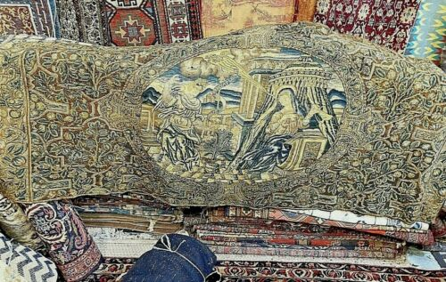 Auth: 17th Century Italian Gross Point Needle Work Museum Piece    3x8 Tapestry