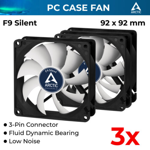 3x Ultra Quiet Cooling Fan Silent Fan For Computer Case Cooler DC 12V 3-Pin 92mm